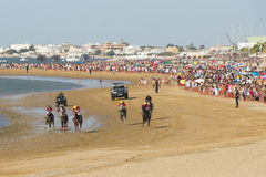 Horse racing on the beaches of Sanlucar Stock Image