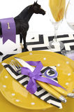 Horse racing carnival event luncheon table place setting Royalty Free Stock Images