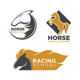 Horse racing club and school isolated logos set Royalty Free Stock Images