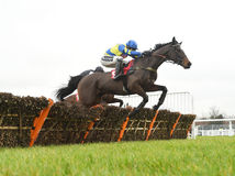 Horse Racing. Coeur de lion 1st Yellow-blue and rather be 2nd seen here jumping the last at sandown races 4-2-17 Stock Image