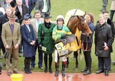 Horse Racing. Defi du seuil winning at Cheltenham races 17-3-17 Royalty Free Stock Photos