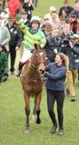 Horse Racing. Defi du seuil winning at Cheltenham races 17-3-17 Stock Image