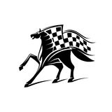 Horse racing emblem with checkered flag. Horse with checkered flag. Horse racing vector emblem for car races icon, sport club label, bookmaker signboard, team Stock Photo
