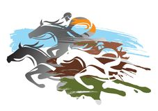 Horse racing. Expressive colorful illustration of Horse racing. Vector available Royalty Free Stock Images