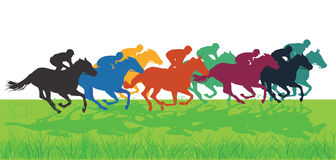 Horse racing. Galloping colorful horse and jockey silhouettes on green grass Stock Photos