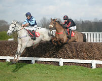 Horse Racing. Grey gold 1st blue and dream bolt 2ndred-black seen here jumping the 2nd last at sandown races 4-2-17 Stock Images