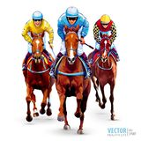 Horse racing. Hippodrome. Racetrack. Trio jockeys on horses. Isolated on white background. The view from the front stock images