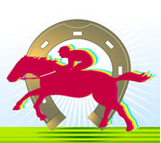 Horse-racing and horseshoe Stock Images