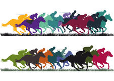 Horse racing. A horse racing illustration with colorful horses and jockeys Royalty Free Stock Photography