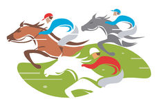 Horse racing. Illustration of Horse Racing at Full Speed. Vector illustration on white background Royalty Free Stock Images
