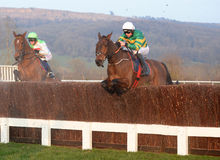 Horse Racing. Jamie Codd and Cause Of Causes Green,gold and white) win the 5:30 at Cheltenham races 17-3-16 stock images