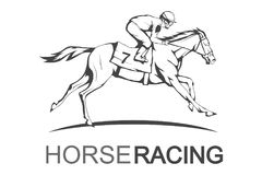 Horse racing. Jockey on racing horse running to the finish line. Race course Royalty Free Stock Photos