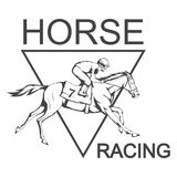 Horse racing. Jockey on racing horse running to the finish line. Race course Stock Photography
