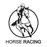 Horse racing. Jockey on racing horse running to the finish line. Race course Stock Photo