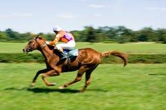 Horse Racing On Green Racecourse Stock Image