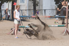 Horse racing. Open Championship of the city tournament in equestrian sport. August 2016, Dnipro city, Ukraine Royalty Free Stock Photos