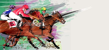 Horse Racing Over Grunge Background Stock Photography