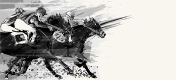 Horse racing over grunge background Stock Images