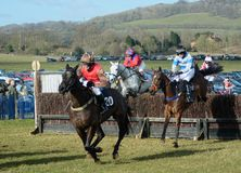 Horse Racing. Over the jumps stock photo