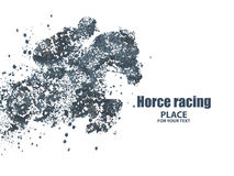 Horse racing, particle divergent composition. Royalty Free Stock Image