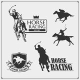 Horse racing and polo club emblems, labels, badges and design elements. Print design for t-shirt. Vector stock illustration