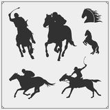 Horse racing and polo club emblems, labels, badges and design elements. Print design for t-shirt. Vector royalty free illustration