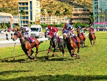 Horse racing in Port-Louis, Mauritius - full competition royalty free stock images