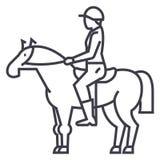 Horse racing,rider,horseman,jockey vector line icon, sign, illustration on background, editable strokes. Horse racing,rider,horseman,jockey vector line icon Royalty Free Stock Image
