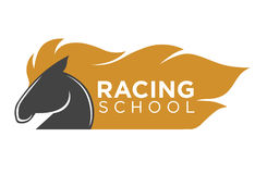 Horse racing school logo label with animal isolated on white Stock Image
