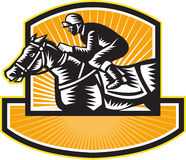 Horse Racing Side Woodcut Retro. Illustration of a horse and jockey thoroughbred racing viewed from side set inside shield crest on isolated white background Royalty Free Stock Photos