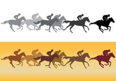 Horse racing silhouette. Black silhouettes on white background, colored silhouettes on a yellow background Royalty Free Stock Image