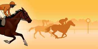 Horse racing silhouette, color image Royalty Free Stock Image