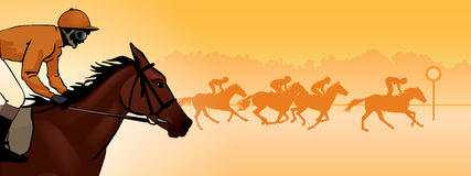 Horse racing silhouette, color image. Horse Racing. Competition. Horse racing at the racetrack. Silhouettes of riders on a colored background. color image Stock Image