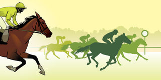 Horse racing silhouette, color image. Horse Racing. Competition. Horse racing at the racetrack. Silhouettes of riders on a colored background. color image Royalty Free Stock Image