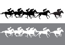 Horse racing silhouette. Horse Racing. Competition. Horse racing at the racetrack Royalty Free Stock Image