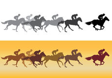 Horse racing silhouette. Horse Racing. Competition. Horse racing at the racetrack Royalty Free Stock Images