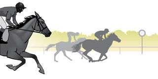 Horse racing silhouette. Horse Racing. Competition. Horse racing at the racetrack. Silhouettes of riders on a colored background Royalty Free Stock Image