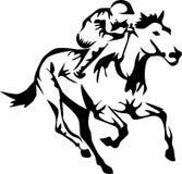 Horse. Racing horse - stylized black and white illustration Stock Images