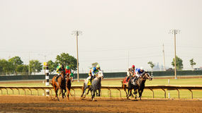 Horse Racing. Thoroughbreds racing at Prairie Meadows in Iowa royalty free stock photography