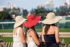 Horse Racing Three Hats Girls Royalty Free Stock Photo