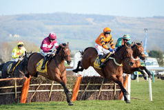 Horse Racing. Tom Scudamore and Thistlecrack (Orange and black) win the 3:30 at Cheltenham races, 17-3-16 stock photos
