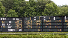 Horse Racing Tote Board. Totalizer (tote board) with surrounding green trees stock photography
