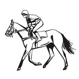 Horse racing, vector drawing Royalty Free Stock Photos