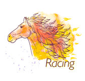 Horse racing watercolor symbol Royalty Free Stock Images