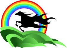 Horse with rainbow. Illustrated image of running  horse silhouette with rainbow Stock Image
