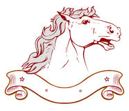 Horse ranch emblem in light. Style Royalty Free Stock Photo