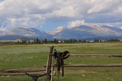 Free Horse Ranch In The Rocky`s Stock Photos - 111596873