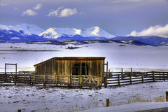 Horse ranch in the winter. Horse ranch barn and corrals in the snowy winter Stock Photography