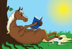 Horse reading book stock illustration