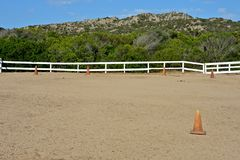 Horse rectangle of riding school. Surrounded by nature in Sardinia Stock Photo